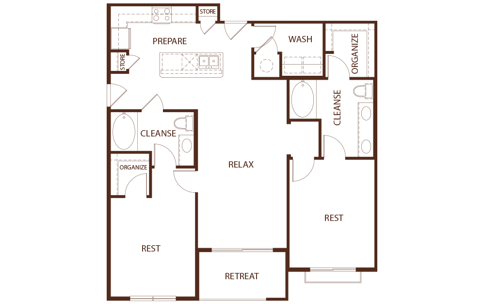 B1B - 2 bedroom floorplan layout with 2 baths and 1270 square feet.