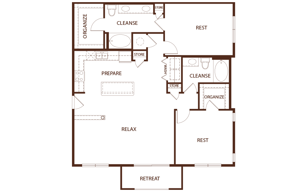 B2A - 2 bedroom floorplan layout with 2 baths and 1370 square feet.