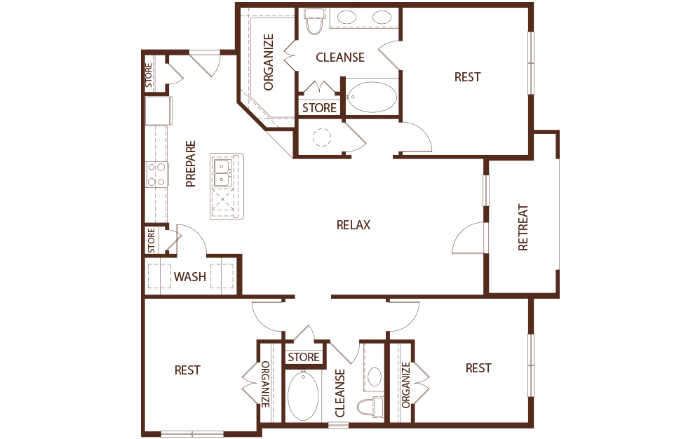C1A - 3 bedroom floorplan layout with 2 baths and 1510 square feet.
