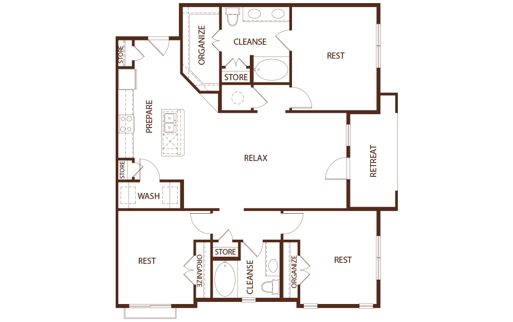 C1B - 3 bedroom floorplan layout with 2 baths and 1530 square feet.
